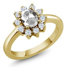 1.35 Ct Oval White Topaz 18K Yellow Gold Ring, Women's, Size: 9