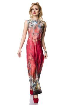 langes Sommerkleid - rot gemustert   Sommerkleider   Kleider   Röcke    BEKLEIDUNG   FRAUEN   701 FASHION 6ae6aa452f
