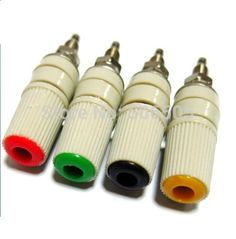 4 개/몫 30VAC-60VDC 최대 24A 바나나 소켓 순수 구리 큰 전류 바인딩 포스트 M5 스터드 무료 배송