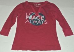 Lucky Brand Top Shirt Knit Thermal Top Love Peace Always Sz L Ladies Womens