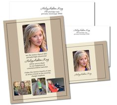 Beige/Tan Graduation Invitation with Matching Thank You Card