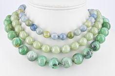 Blue and green beryl, Jade and Chrysoprase necklace hand knotted on silk. Beaded Necklace, Necklaces, Australian Art, Jade, Jewerly, Fine Jewelry, Handmade Jewelry, Jewelry Design, Fashion Jewelry