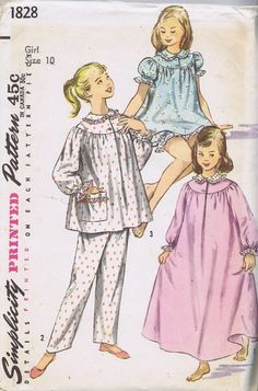 """Girls Jajama Gown 1828 Simplicity Sewing Pattern SIZE 10 BUST 28.5 HIP 30"""" UNCUT"""