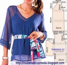 PASSO A PASSO MOLDE DE BLUSA O molde de blusa encontra-se no tamanho 42. Nota: A ilustração do molde blusa não tem valor de costura. Corte um retângulo de