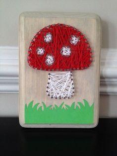 #mushroom #art #cute I found this really awesome Etsy listing at https://www.etsy.com/listing/183284835/mini-mushroom-nail-string-art