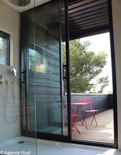 Indoor Outdoor Shower brilliant design: indoor shower with sliding doors opening to an
