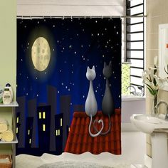 Cat Shower Fabric Curtain