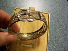 Art Deco Filigree Bracelet Marked Sterling w/ Rhinestones In Possibly orig. Box