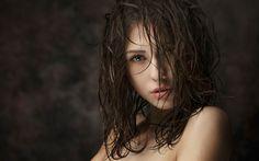catherine timokhina, maxim maximov, девушка, модель, брюнетка, лицо, глаза, губы, плечи, волосы, мокрые волосы, фото, портрет, красивая, соблазнительная 1920x1200