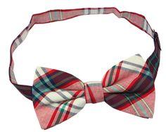 OCIA Mens Cotton Plaid Handmade Bow Tie