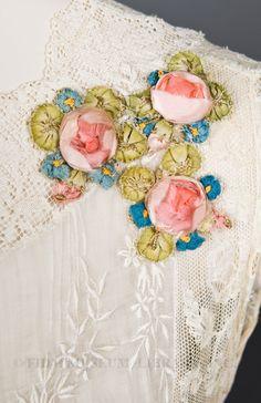 Closeup of ribbon embroidery on Boué Soeurs Lace & Lawn dress ~