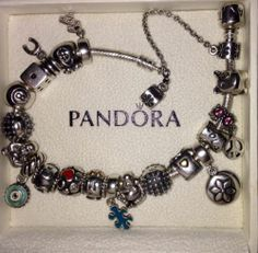 Authentic Pandora Silver Charm Bracelet w/ 20 Pandora Charms Most Retired Rare