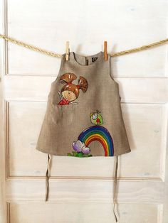 Rainbow baby girl wedding dress Grey linen natural kid clothing with painted doll in pocket Rustic toddler dress Birthday outfit summer gift Baby Girl Wedding Dress, Western Wedding Dresses, Wedding Dresses For Girls, Wedding Dresses Plus Size, Wedding Gowns, Girls Dresses, Tulle Wedding, Toddler Dress, Toddler Outfits
