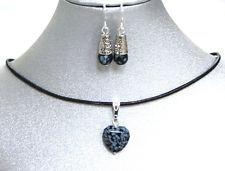 Natural Gemstone Snowflake Obsidian Heart Pendant Necklace Earrings Chakra USA