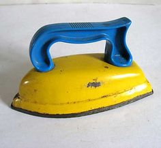 Bright Yellow and Teal Blue Child's Tin and Plastic Iron Toy c 1950