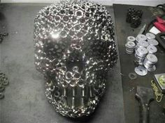 Skull made from bolts and nuts