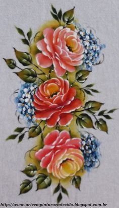 pintura em tecido rosas
