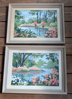 Pair of Vintage Paint by Numbers River with by PanchosPorch, $49.50