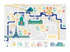 The Route of Seine, Paris Infographic: Let yourself go to The Route of Seine and discover the most important attractions of Paris by the principal line of metro.