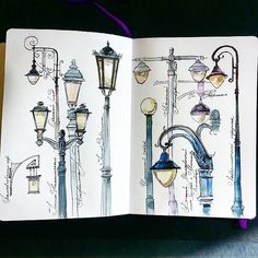 lovely example of studying lights and lamps for urban sketching Arte Sketchbook, Sketchbook Pages, Sketchbook Ideas, Travel Sketchbook, Kunstjournal Inspiration, Sketchbook Inspiration, Drawing Sketches, Art Drawings, Sketching