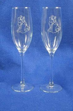 Cinderella Wedding Glasses Flutes Free Engraving Personalized Just for you