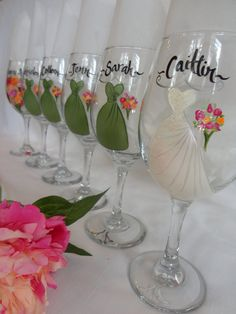 Personalized Hand Painted Bridesmaid Dress Wine Glasses by SAM Designs, $24.00