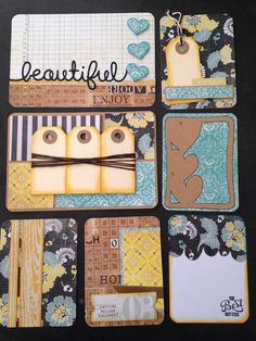 Handmade project life card set Rustic van CodisCustomCards op Etsy Project Life Planner, Project Life Freebies, Project Life Scrapbook, Project Life Cards, Pocket Scrapbooking, Scrapbooking Layouts, Journal Cards, Atc Cards, Envelope Book
