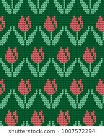 Imágenes similares, fotos y vectores de stock sobre Nordic knitted pattern with Christmas tree and snow, in green, white and red vector illustration; Tapestry Crochet Patterns, Fair Isle Knitting Patterns, Knitting Charts, Loom Patterns, Knitting Stitches, Embroidery Flowers Pattern, Cross Stitch Embroidery, Flower Patterns, Hand Embroidery