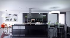 Kitchen. Having Black Aluminium Composite Cabinet Black Glossy Granite Floor White Stained Plastering Wall Round Glass Metal Pendant Lamp Stainless Exhaust Vent Black Aluminium Composite Kitchen Island. Aluminium Composite ( Alucom ) Material Make a Nicer Kitchen Furniture