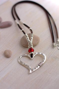 Heart necklace Long leather necklace Jewelry for women Heart Pendant Boho style Crystal Jewelry Silver Beads Necklace Best love gift for her Silver Bead Necklace, Leather Necklace, Leather Jewelry, Crystal Jewelry, Boho Jewelry, Jewelry Shop, Beaded Jewelry, Silver Jewelry, Jewelry Accessories