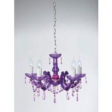 Kare Design Barok Kroonluchter Paars 5-lamps