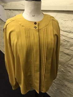 Lovely blouse vintage bhs, size Mustard in colour. Pleats at the front, concealed buttons, puff sleeves with button cuff. Vintage Blouse, Fashion Clothes, Mustard, 18th, Ruffle Blouse, Clothes For Women, Link, Sleeves, Shirts
