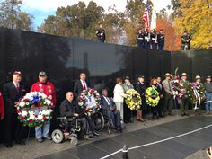 Penske joined the Paralyzed Veterans of America (PVA) in honoring fallen veterans at the Vietnam Veterans Memorial in Washington, D.C. during Veterans Day 2013. Pictured in the center are Gene Crayton, Immediate Past PVA President, Penske EVP Art Vallely, and PVA National Secretary Larry Dodson.  Photo courtesy of the Paralyzed Veterans of America (PVA). Penske Truck Rental is currently conducting a major fundraising effort called #OneWay4PVA to benefit the PVA. #veterans #VeteransDay