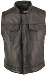 Men's Black Horsehide Leather Motorcycle Vest with Stand Up Collar & Gun Pockets - Hillside USA