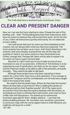 The Ankh-Morpork Times. The Truth shall have a skull and quite cross bones. Extra. CLEAR AND PRESENT DANGER. page five. by David Green 23 Nov 2015