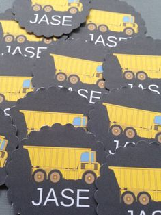Personalized Dump Truck Cupcake Topper/Gift Tag