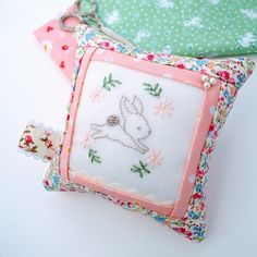 Tutorial and pattern: Embroidered bunny pincushion