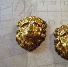 Vintage Raw Brass Sad Lion Stampings (2) - FFA1709 Jewelry Finding
