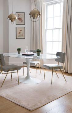 Blush pink interior - soft neutrals. #blush #blushpink #interior #interiordesign #interiordecor #interiordesignideas #lighting #pendantlights #diningroom #diningroomdecor