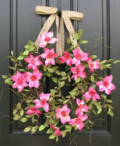 Clematis Summer Wreath Pink Clematis Wreaths for by twoinspireyou $85.00