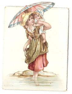 Jeune femme - - bébé ombrelle plage mer chapeau maillot  - Chromo  - Trade card