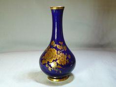 Porzellan Vase Echt Kobalt KPM Bavaria Gold Blume