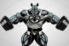Illustration of Vector illustration of a strong bullterrier with big biceps, bends the barbell, bodybuilder vector art, clipart and stock vectors. Vector Graphics, Vector Art, Bodybuilding Logo, Rhino Logo, Big Biceps, Gym Logo, Rhinoceros, Fitness Logo, Photoshop Design