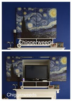 """Ugly TV niche above the fireplace: Hide the TV, router, server, Xbox, cords, and cables (all in need of dusting) behind split art canvases using 24""""inch drawer slides.a Hide Cables, Cords, Canvases, Being Ugly, Xbox, Drawers, Canvas Art, Diy Crafts, Crafty"""