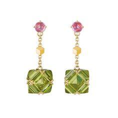 """Paolo Costagli """"Very PC"""" Peridot & Pink Sapphire Drop Earrings"""
