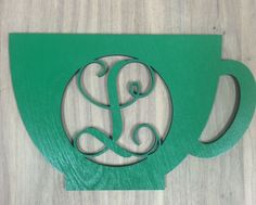 Unfinished Wood Coffee Cup/Mug Monogram Door Hanger Laser Cutout w/ Your Initial