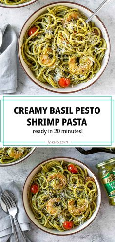 Creamy Basil Pesto Shrimp Pasta is perfect for a busy weeknight dinner. Basil pesto is turned into a creamy sauce to cook the shrimp, then mixed with pasta! Pesto Sauce For Pasta, Creamy Pesto Pasta, Basil Pesto Pasta, Basil Pesto Recipes, Pasta With Basil, Recipes With Pesto Sauce, Healthy Pesto, Healthy Pasta Recipes, Seafood Recipes