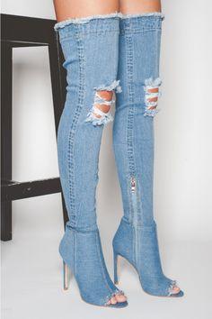 Mid Blue Maya OTK Denim Thigh High Boots