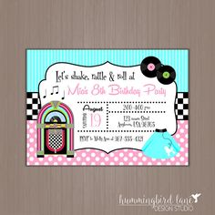 Printable 50s Birthday Party Invitation Sock Hop Invitation