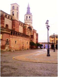 Fotografía con efecto acuarela de plaza de La Solana.